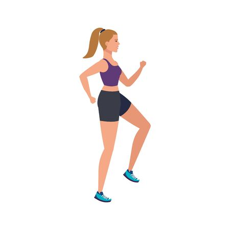 young woman athlete running avatar character vector illustration design