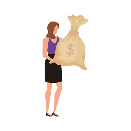 young woman with money bag character vector illustration design Illustration