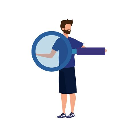 young man with magnifying glass character vector illustration design Ilustração