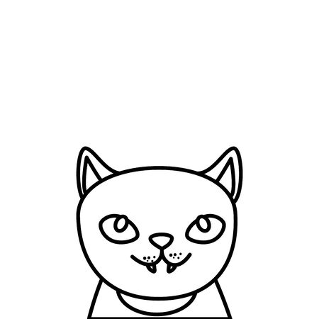 head of cat feline animal of halloween vector illustration design Çizim