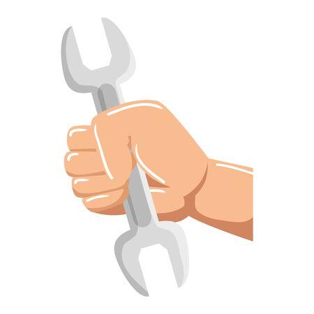 hand with wrench metal tool vector illustration design Foto de archivo - 136940366