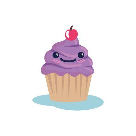 Cupcake cartoon design, Muffin dessert sweet bakery sugar pastry and food theme Vector illustration