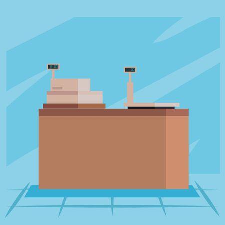Shopping cash register and scale design, Store shop market commerce retail buy and paying theme Vector illustration Ilustração