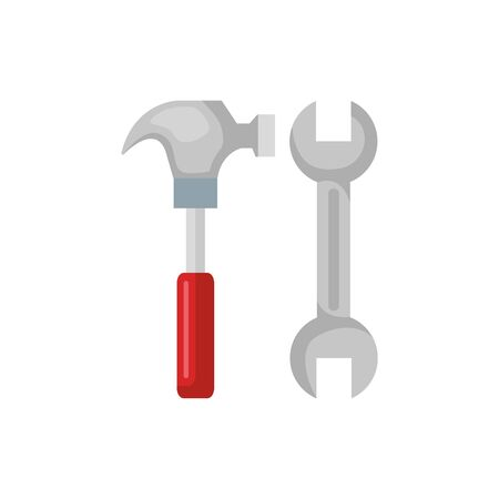 wrench and hammer design, Construction work repair reconstruction industry build and project theme Vector illustration Foto de archivo - 136953441