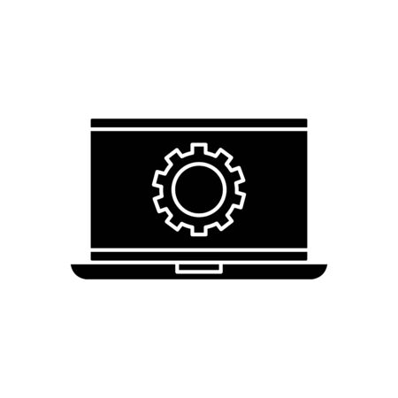 Gear inside laptop design, construction work repair machine part technology industry and technical theme Vector illustration 矢量图片