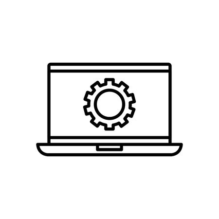 Gear inside laptop design, construction work repair machine part technology industry and technical theme Vector illustration