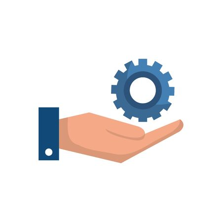 Gear and hand design, construction work repair machine part technology industry and technical theme Vector illustration