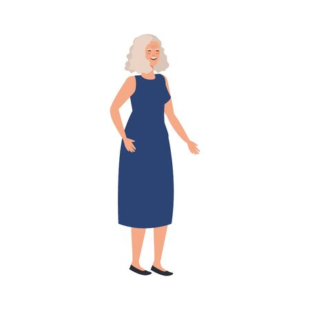 old woman elegant avatar character vector illustration design Imagens - 136965669