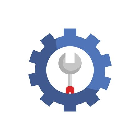 wrench inside gear design, Construction work repair reconstruction industry build and project theme Vector illustration Ilustração