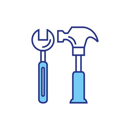 wrench and hammer design, Construction work repair reconstruction industry build and project theme Vector illustration Foto de archivo - 136954981
