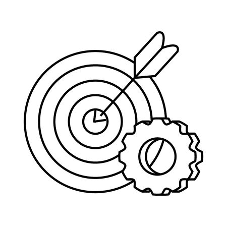 Target and gear design, Solution success strategy idea problem innovation and creativity theme Vector illustration
