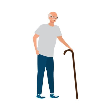 old man elegant with cane avatar character vector illustration design Ilustração