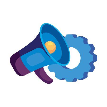 Megaphone and gear design, Amplifer speaker bullhorn announce speech message communication and sound theme Vector illustration
