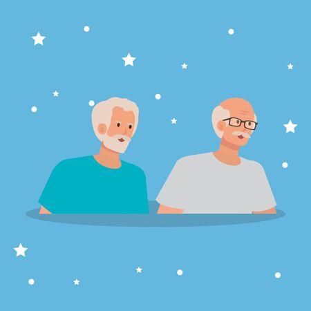 group of old men avatar character vector illustration design