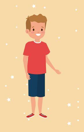 cute little boy avatar character vector illustration design  イラスト・ベクター素材
