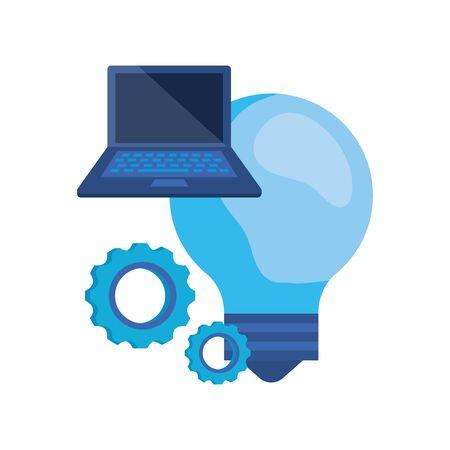 laptop computer with bulb light vector illustration design 向量圖像