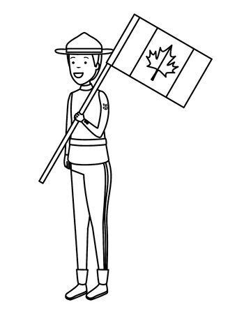 canadian officer ranger with flag character vector illustration design