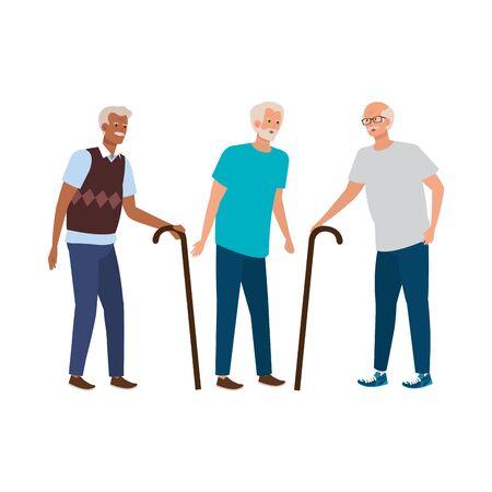 disegno dell'illustrazione di vettore del carattere elegante dell'avatar degli uomini anziani