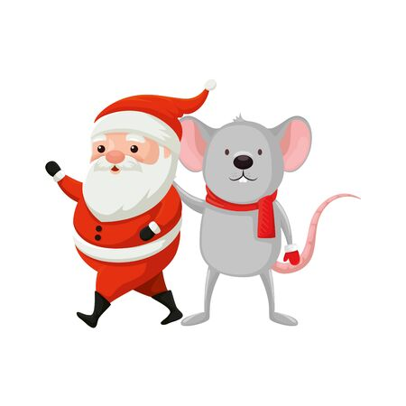 santa claus with mouse characters merry christmas vector illustration design