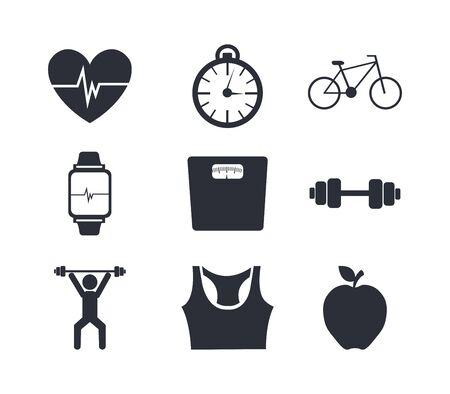bundle of fitness set icons vector illustration design Vecteurs