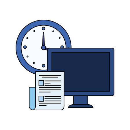 desktop computer with time clock vector illustration design
