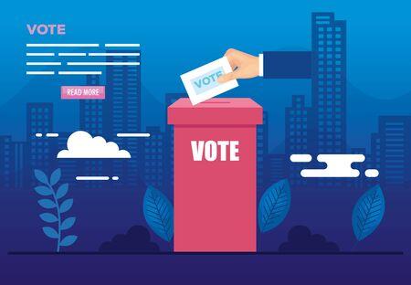Affiche de vote avec urne et icônes vector illustration design Vecteurs