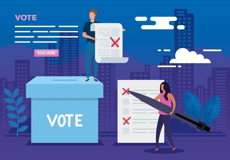 poster of vote with people and icons vector illustration design