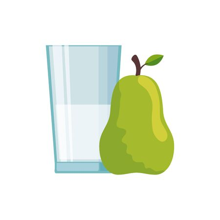 Milk glass and pear design, Liquid drink beverage breakfast fresh natural dairy and healthy theme Vector illustration