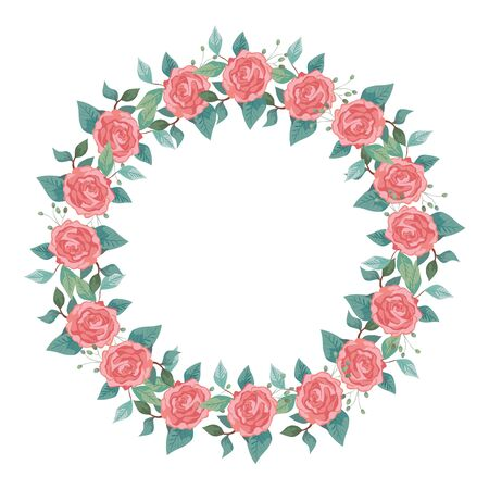 frame circular of roses with branches and leafs vector illustration design Illustration