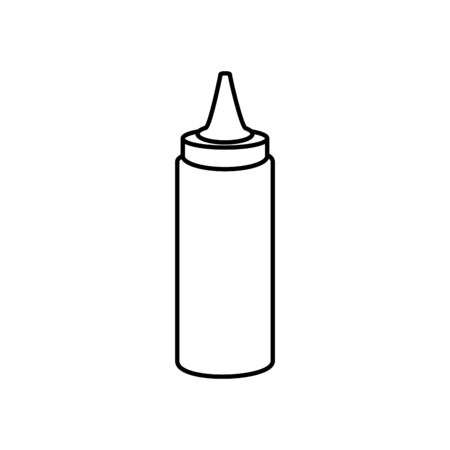 delicious sauce in bottle line style icon vector illustration design  イラスト・ベクター素材