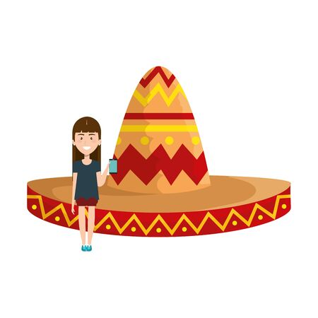 young woman with mexican hat vector illustration design