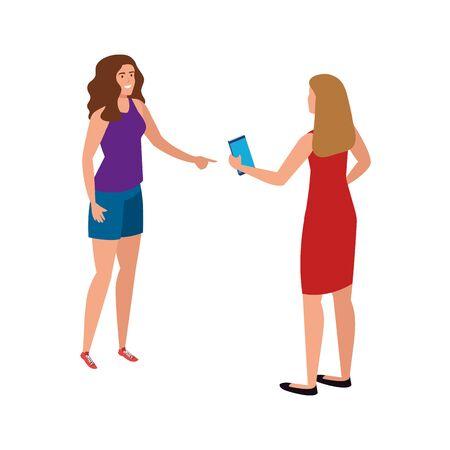 Avatar women with smartphone design, Girls females person people human and social media theme Vector illustration Ilustração