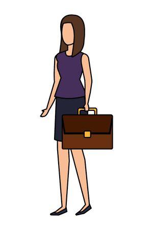 elegant businesswoman with portfolio vector illustration design