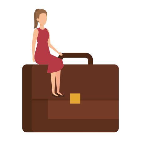 businesswoman sitting in portfolio vector illustration design