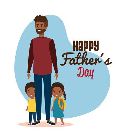 man with his daughter and boy to fathers day vector illustration