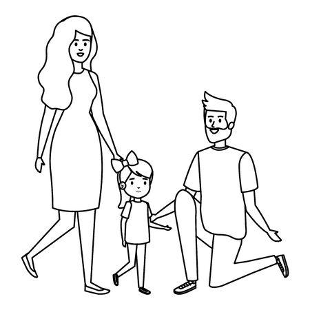 happy student girl with couple teachers vector illustration design Ilustração
