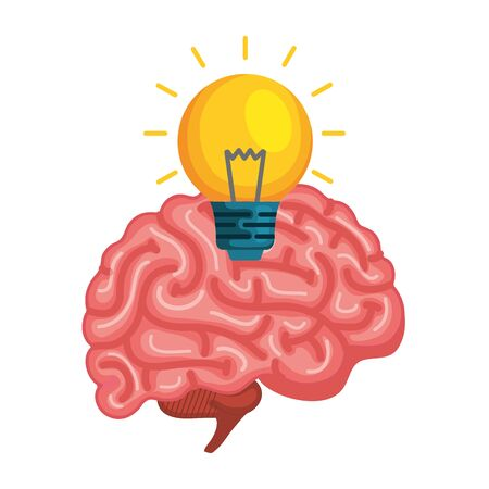 brain human with bulb vector illustration design Illustration