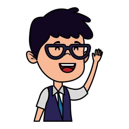 happy student boy with glasses vector illustration design