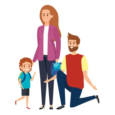 happy student boy with couple teachers vector illustration design Ilustração