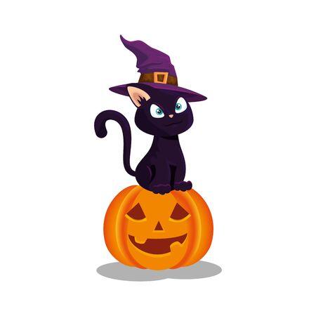 cat with hat witch in pumpkin halloween vector illustration design Çizim