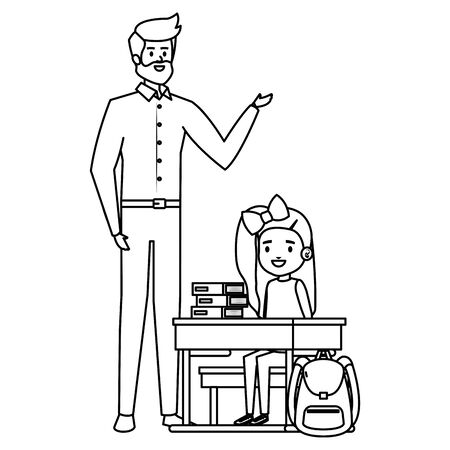 student girl in school desk with male teacher vector illustration design Ilustração