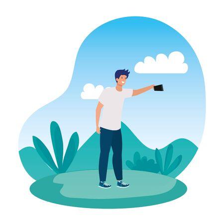 happy young man taking a selfie in the park vector illustration design Ilustração
