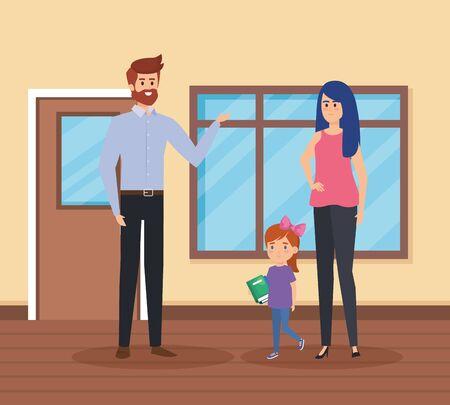 teachers couple with student girl in the school scene vector illustration design