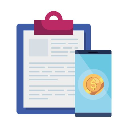 clipboard with smartphone and coin vector illustration design