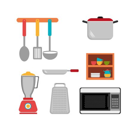 set cutlery with pot and other icons vector illustration design Illustration