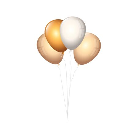 set of balloons helium golden and white vector illustration design