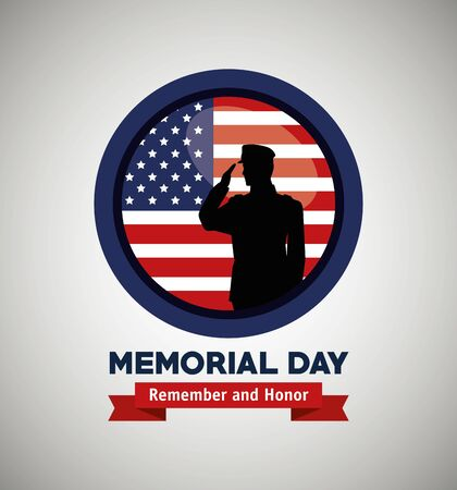 label with soldier and usa flag to memorial day vector illustration