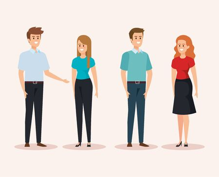 set of women and men with hairstyle and casual clothes vector illustration