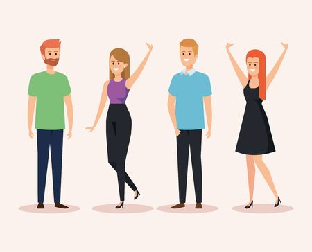 set of happy women and men with hairstyle and casual clothes vector illustration
