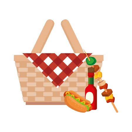 basket wicker picnic with food isolated icon vector illustration design